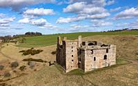 Aerial view of Crichton Castle in Crichton in Midothian, Scotland, UK.