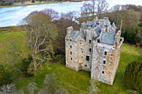 Aerial view of Elcho Castle near Rhynd, Perthshire, Scotland UK.