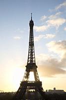 Silhouette of Eiffel Tower at Dawn, Paris, France.