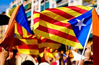 A scene in Barcelona Catalonia, Spain during the Catalan National Day celebrations for independence on 11th September 2015.