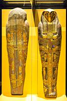 Egypt, Cairo, Egyptian Museum, cartonnage coffin with hawk head, found in the royal necropolis of Tanis, burial of the king Sheshonq 2. Linen and gold...