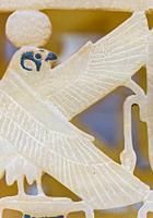 Egypt, Cairo, Egyptian Museum, Tutankhamon alabaster, from his tomb in Luxor : Detail of a composite perfume vase, a solar hawk and a Ouas scepter.