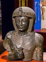 Cairo, Egyptian Museum, bust of Ramses 2, black granite, from Tanis.
