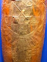 Egypt, Cairo, Egyptian Museum, gold mummy cover, found in the royal necropolis of Tanis, burial of the king Psusennes I . The king holds the Heka and ...