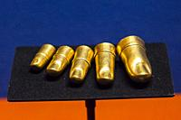 Egypt, Cairo, Egyptian Museum, jewellery found in the royal necropolis of Tanis : Gold finger cots, for the feet of the king Psusennes.