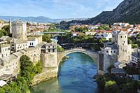 Mostar, Herzegovina-Neretva, Bosnia and Herzegovina. The single-arch Stari Most, or Old Bridge, crossing the Neretva River. The Old Bridge Area of Mos...