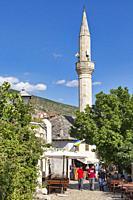Mostar, Herzegovina-Neretva, Bosnia and Herzegovina. Street scene in the old town.