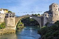 Mostar, Herzegovina-Neretva, Bosnia and Herzegovina. The single-arch Stari Most, or Old Bridge, crossing the Neretva River. The Old Bridge Area of Mos...
