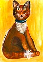 Drawn with acrylic paints funny cat with big eyes on a yellow background.
