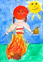 Children's drawing - burning a stuffed carnival at the celebration, in the hands of a stuffed plate with pancakes, in the background the sun.