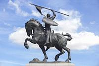 Seville, Spain - Sept 27th 2020: El Cid Campeador equestrian Statue. Sculpted by Anna Hyatt Huntington in 1927.