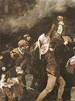 Massacre of Jews carried out in the Middle Ages in the city of Toledo. Painted by Vicente Cutanda y Toraya in 1887. MBA Zaragoza.