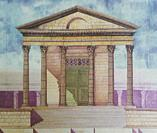 Temple of Diana facade, Hypothetical depiction by Dionisio Hernandez, Merida, Extremadura, Spain. Best-preserved Roman temple in Spain.