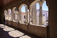 Merida, Spain - April 17th, 2021: Visitor at Temple of Diana Interpretation Centre, Merida, Extremadura, Spain. Best-preserved Roman temple in Spain.