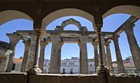 Merida, Spain - April 17th, 2021: Temple of Diana seen from Interpretation Centre upper floor, Merida, Extremadura, Spain. Best-preserved Roman temple...