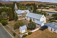 Aerial view of thesmall Karoo town of Laignsberg with the N1 high passing through.
