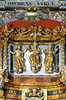 God, Jesus Christ and the Virgin Mary. The Holy Trinity. Sculptures. Altarpiece, (work of Jacques Clairant). Church of Notre-Dame de la Gorge. Les Con...