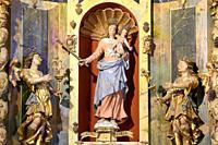 The Virgin of the Assumption, St. Bernard of Clairvaux and St. Antoine. Sculptures. Altarpiece, (work of Jacques Clairant). Church of Notre-Dame de la...