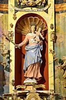 The Virgin of the Assumption, Altarpiece, (work of Jacques Clairant). Church of Notre-Dame de la Gorge. Les Contamines-Montjoie. Haute-Savoie. Auvergn...