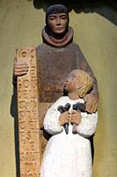 Joseph and Jesus Christ carpenter. Wooden statue. Church of Notre-Dame de la Gorge. Les Contamines-Montjoie. Haute-Savoie. Auvergne Rhône-Alpes. Franc...