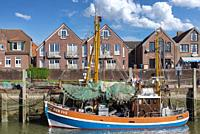Crab cutter in fishing harbor, Neuharlingersiel, Lower Saxony, Germany, Europe.