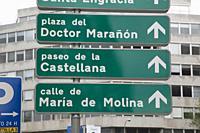 Road Sign in Madrid; Spain.