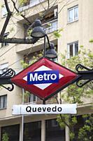 Quevedo Metro Underground Station Sign; Madrid; Spain.