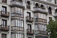 Facade of 112 Calle San Bernardo Road; Madrid; Spain.