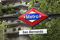 San Bernardo Metro Underground Station Sign; Madrid; Spain.