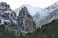 France, Corsica, Haute-Corse, Restonica gorges in winter.