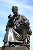 Statue of philosopher Jean-Jacques Rousseau, Île Rousseau, Geneva, Switzerland, Europe