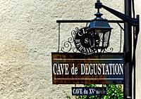 Winery sign - inviting for degustation of wines from XV century caves, Beaune - capital of Burgundy, Department of Cote d'Or, Burgundy, France, Europe