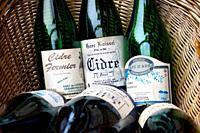 Bottles of cider in basket. Honfleur. Normandy, France, Europe