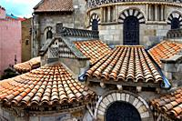 Romanesque Basilica of Notre-Dame du Port, chevet and mosaics, Port quarter - historic part of Clermont-Ferrand between Place Delille and the cathedra...