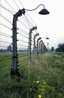 Barbed wire fence at the concentration camp in Auschwitz, Birkenau near Krakow in Poland.