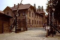 The Auschwitz labor camp with the famous words ´Arbeit macht frei´ ´over the gate, Poland.