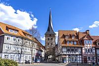 Stadttor und Wahrzeichen Westerturm in Duderstadt, Niedersachsen, Deutschland   Old town gate and Symbol Westerturm in Duderstadt, Lower Saxony, Germa...