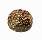 black baked bun with sesame seeds isolated on white background, fast food.