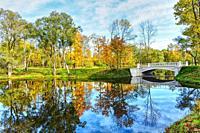 Emperor Park. Beautiful autumn andscape with bridge.