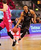 Bonn, Germany, 05.05.2021, Telekom Dome, Basketball Bundesliga, Telekom Baskets Bonn vs Loewen Braunschweig: Karim Jallow (Braunschweig) controls the ...