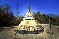 American Chippewa Indian tribe replica teepee tent located in Port Huron, Michigan tribal grounds.