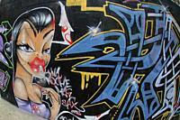 Graffiti, Barcelona, Catalonia, Spain, Europe.