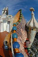 Ceramics and chimneys on the roof, Casa Batlló by architect Antoni Gaudi, UNESCO World Heritage Site, Passeig de Gràcia, Illa de la Discòrdia, Eixamp...