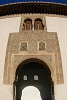 Dorway with decorated windows, Courtyard of the Myrtiles, Nasrid palace, Alhambra, Granada, Andalucia, Spain, Europe.