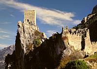 La Iruela Castle. The Iruela Castle raises upon a rough terrain over a wild rock, cut into two by its two fronts at the Iruela region, Jaenâ. . s prov...