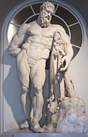 Cadiz, Spain - May 31th, 2019: Hercules Farnese Marble statue. Replica of Roman copy by Glykon of a Greek original by Lysippos. Cadiz Museum, Spain.