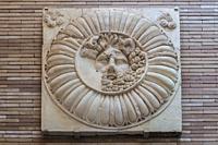 Merida, Spain - December 20th, 2017: Jupiter Ammon Clypeus medallion from Emerita Roman Provincial Forum of Merida. MNAR Merida, Spain.