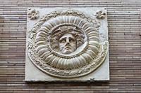 Merida, Spain - December 20th, 2017: Medusa medallion of Roman Provincial Forum of Merida. Remains of the portico of monumental site. National Museum ...