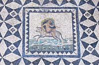 Merida, Spain - December 20th, 2017: Europe abducted by Zeus in the form of a bull. Mosaic. National Museum of Roman Art in Merida, Spain.