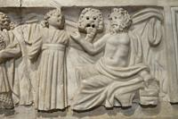 Lisbon, Portugal - March the 1st, 2020: Frieze of sarcophagus figuring philosophers or writers and muses. 3rd Century DC. Chelas, Portugal. National A...